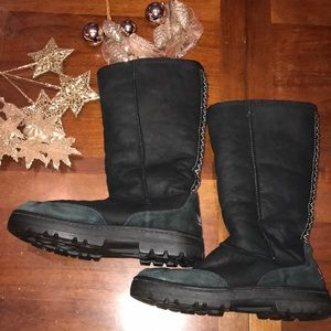 UGG Ultra Tall black leather with laces accent